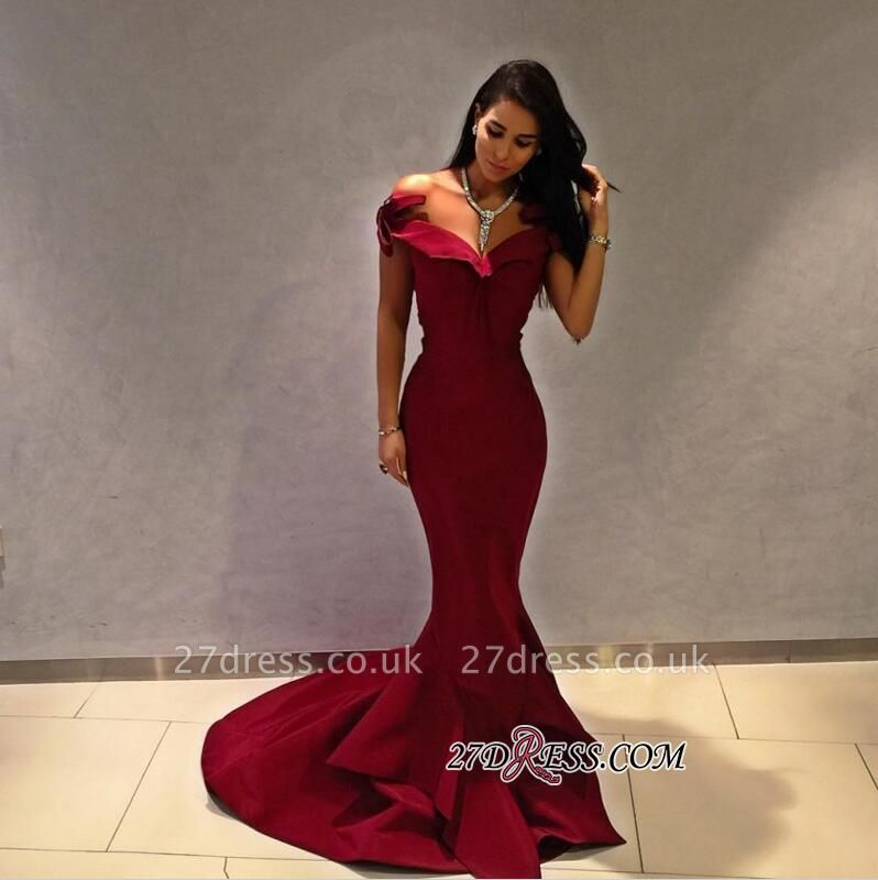 Off-the-shoulder Burgundy Mermaid Ruffles Modest Long Prom Dress UK BA4886