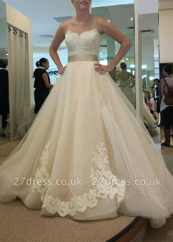 Gorgeous Sweetheart Princess Wedding Dresses UK Lace Appliques Tulle