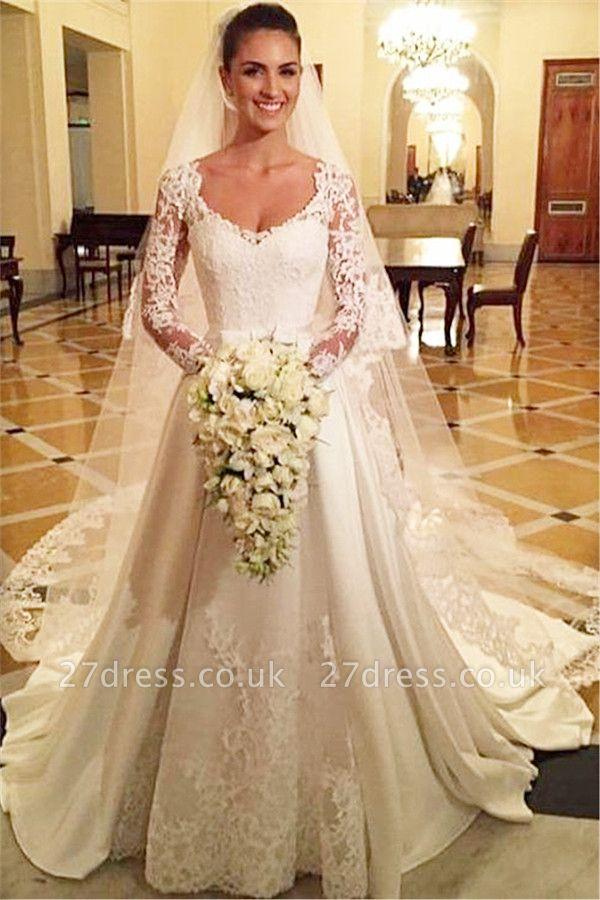 Elegant Scoop Neckline Long Sleeve Wedding Dress With Lace Appliques BA9260