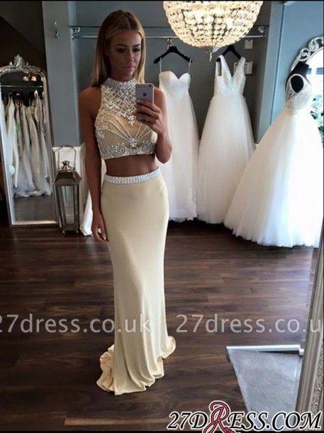 Two-Piece Crystal High-Neck Sheath Sleeveless Prom Dress UK