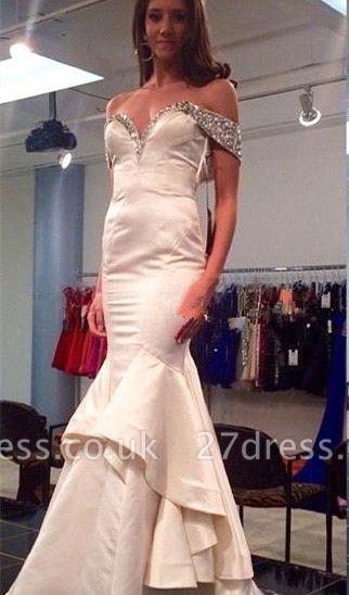 Elegant Off-the-shoulder Beading Prom Dress UK Mermaid Zipper Sweep Train