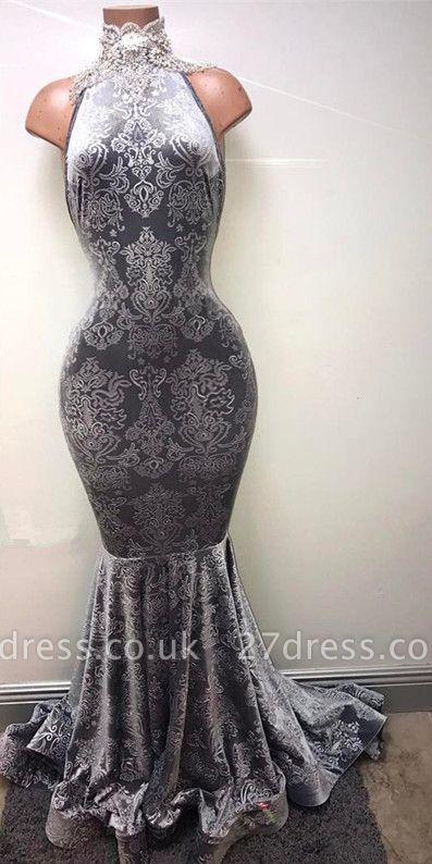 Silver-grey prom Dress UK, lace mermaid formal Dress UK BA8233