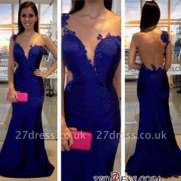 Mermaid  Appliques One-Shoulder Royal-Blue Prom Dress UK