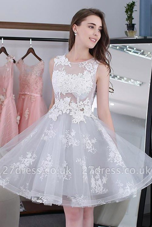 Newest Illusion Lace Appliques A-line Short Homecoming Dress UK | Homecoming Gown