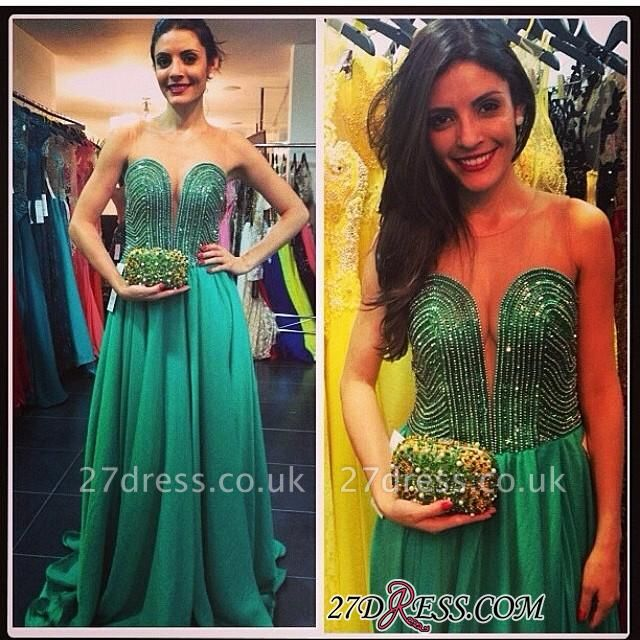 Sweep Sweetheart A-line Green Train Beading Evening Gown