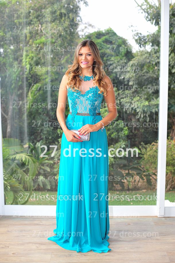 Womens Long Evening Prom Dress UKes UK Hot Sale Lindo Vestidos De Fiesta Party Gowns Blue Scoop Pearls Chiffon Lace