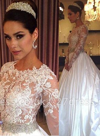 New Arrival Lace Appliques Long Sleeve Satin Wedding Dress Beadss Princess