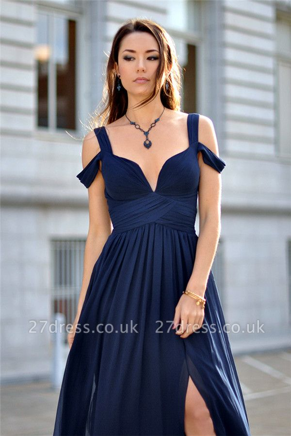 Sexy Navy Blue Chiffon Prom Dress UK Split Ruched BA2769