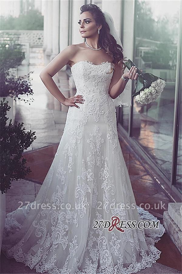 Lace Sweetheart Sleeveless Tulle Elegent Sweep-Train Wedding Dresses UK