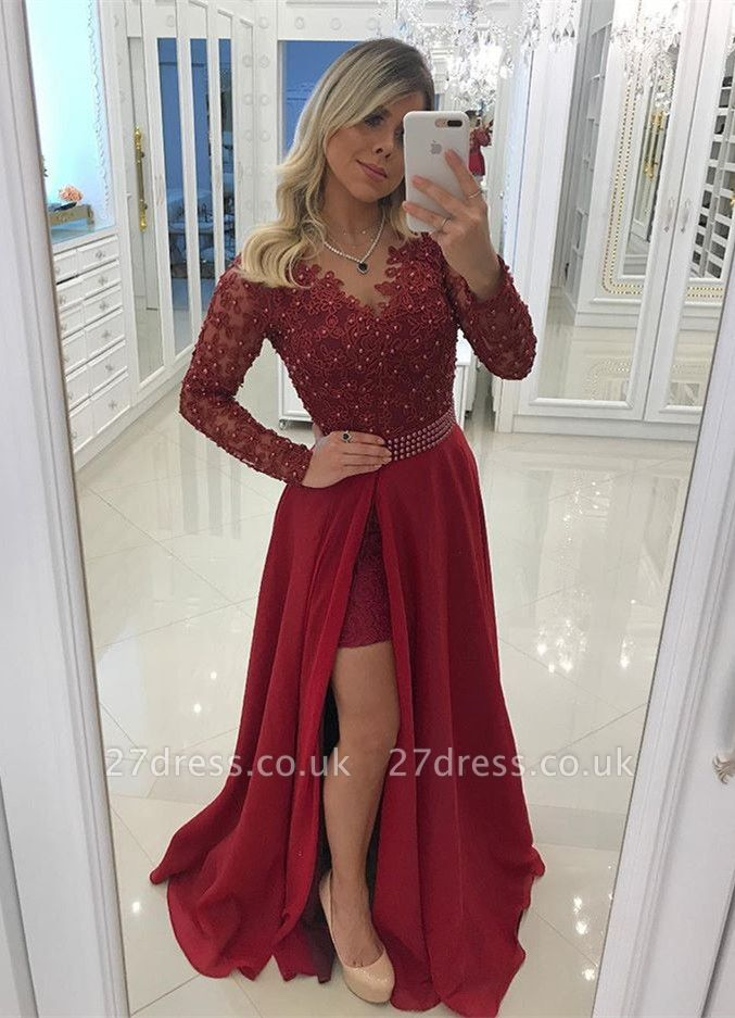 Chic Long Sleeve Burgundy Evening Dress UK   2019 Prom Party Dress UK With Pearls