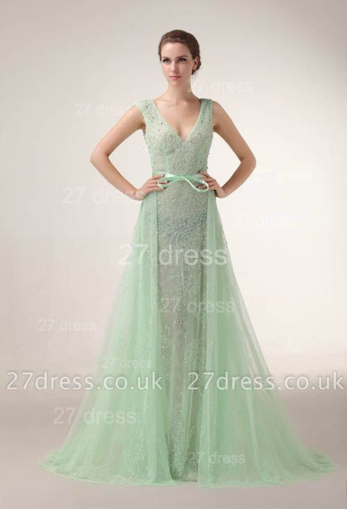 Elegant V-Neck Lace Evening Dress UKes UK Bownot A-Line Prom Gowns with Beadings