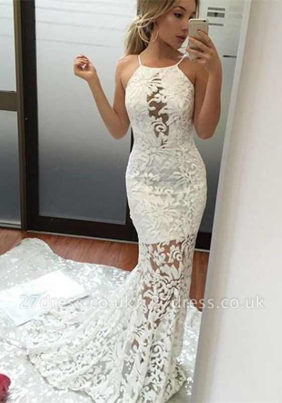 White Halter Prom Dress UK   Lace Mermaid Evening Gowns BA9091
