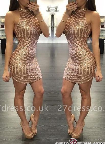 Sequins Halter-Neck Tight Sheath Short Homecoming Dress UKes UK