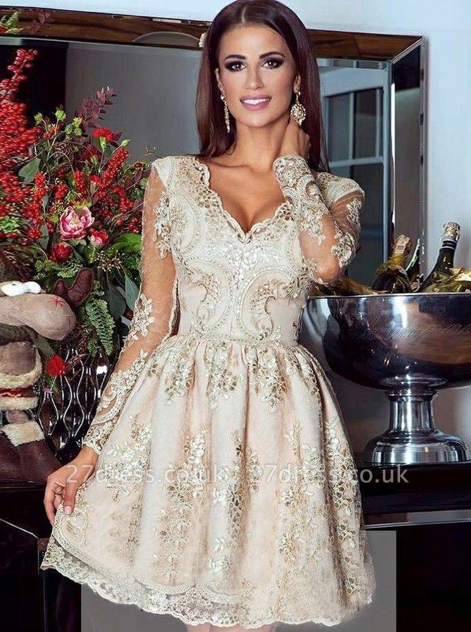 Gorgeous Long Sleeve Short Homecoming Dress UK Lace Appliques Prom Dress UK