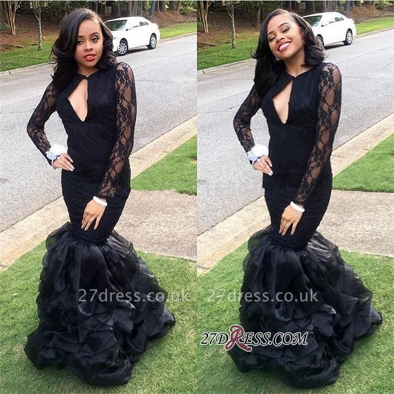 Black Lace Long-Sleeves Mermaid Elegant Keyhole-Neck Ruffles-Skirt Prom Dress UKes UK
