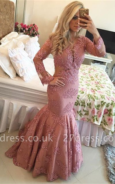 Fuchsia Lace Prom Dress UK | Long Pearls Evening Gowns