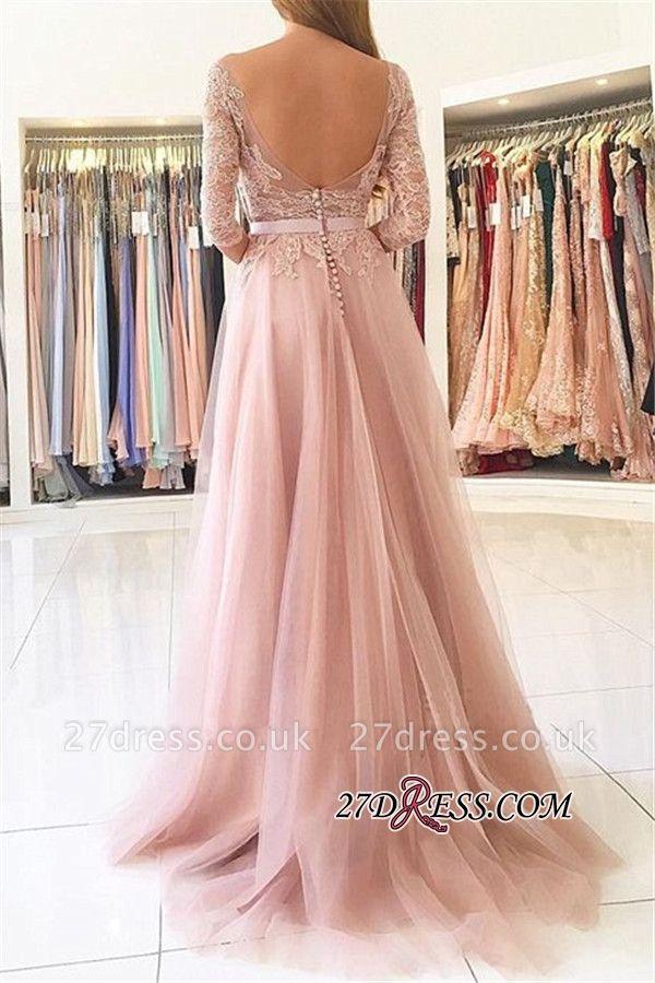 Sexy Half-Sleeve Split Lace Long Evening Dress UK BA7488
