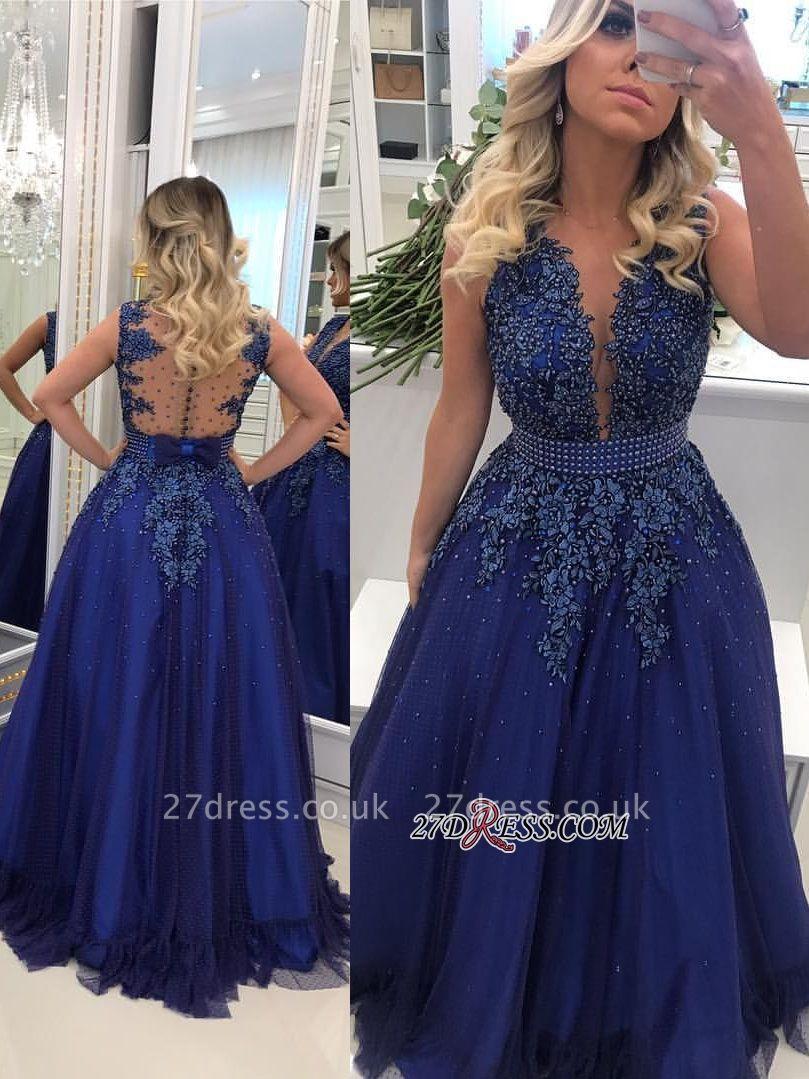 Gorgeous V-Neck Lace Prom Dress UKes UK   Long Navy Evening Dress UK Online BMT