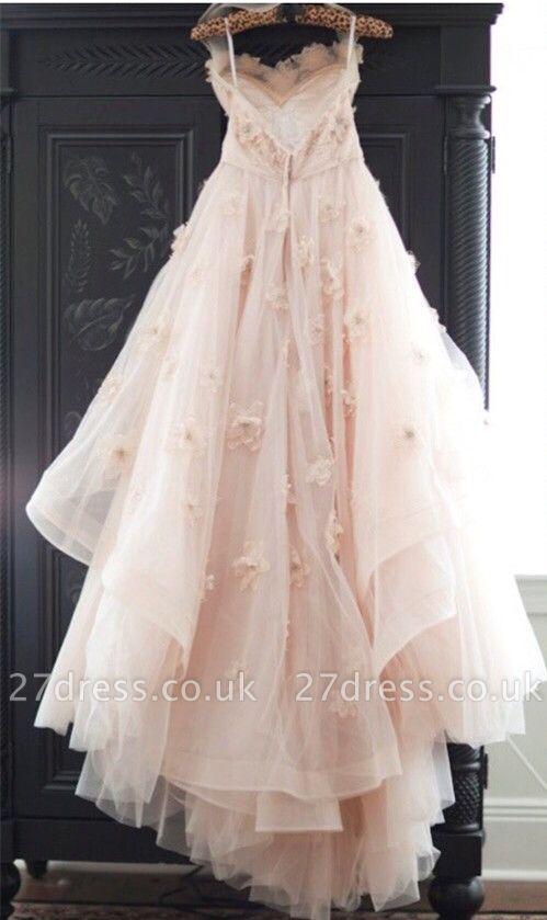 Spaghetti Sleeveless Tulle Wedding Dress With Flowers BA1496