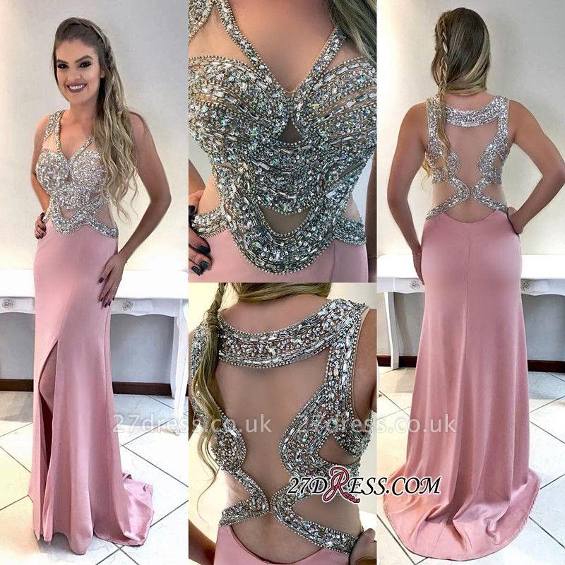 V-neck mermaid evening Dress UK, crystal prom Dress UK