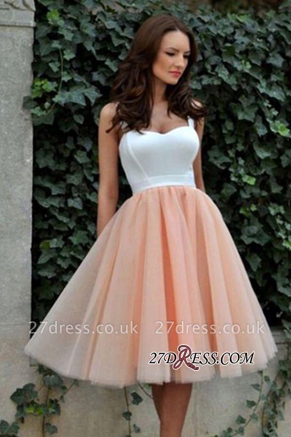 Knee-Length Sleeveless Straps Pretty TulleEvening Dress UK
