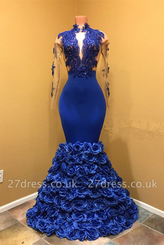 High Neck Mermaid Prom Dress UK, Flowers Prom Dress UK BA8227