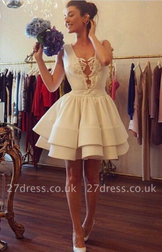 Elegant Deep V-neck Short Cocktail Dress UK With Ruffles Appliques