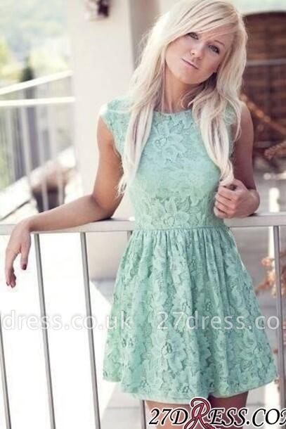 Mint Pretty Sexy Sleeveless New Lace Bateau Miniskirt Homecoming Dress UK
