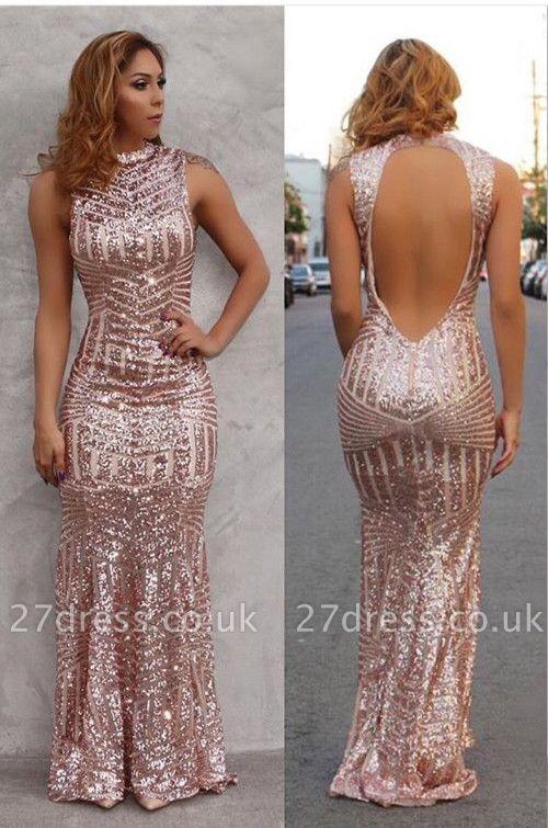 Luxury Open Back Sequins Prom Dress UK Long Sleeveless High-Neck