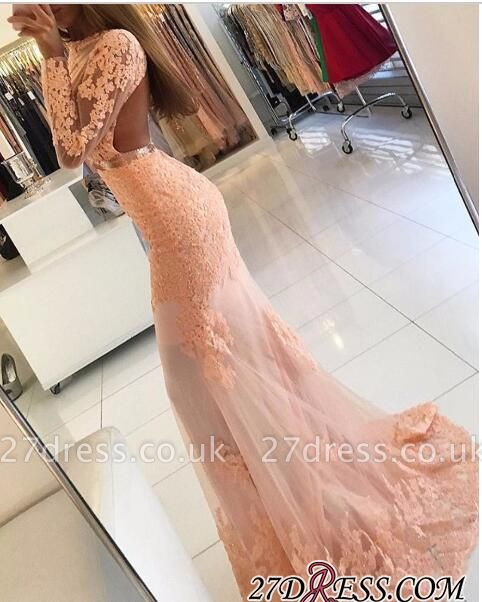 Newest Mermaid Lace-Appliques Long-Sleeve High-Neck Prom Dress UK