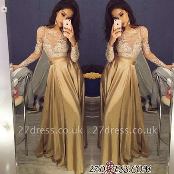 Two-Piece Long-Sleeve A-Line New Lace Elegant Prom Dress UKes UK BA3993