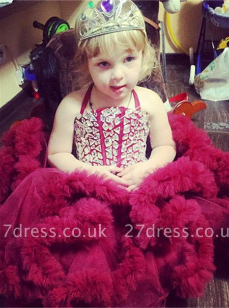 Newest Halter Ruffles Crystals Flower Girl Dress Sleeveless