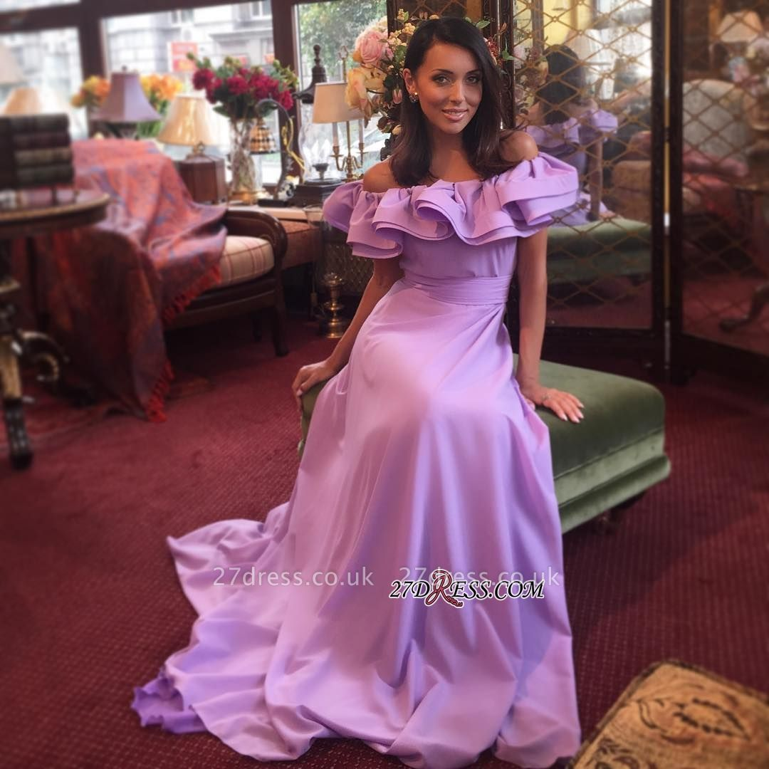 Sexy Lavender Long Off-The-Shoulder Sexy Ruffles Evening Dress UK