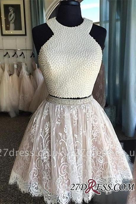 Luxury Short Pearls Two-Piece Lace Homecoming Dress UKes UK