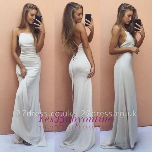 Backless Sleeveless White Elegant Spaghetti-Strap Mermaid Prom Dress UK SP0321