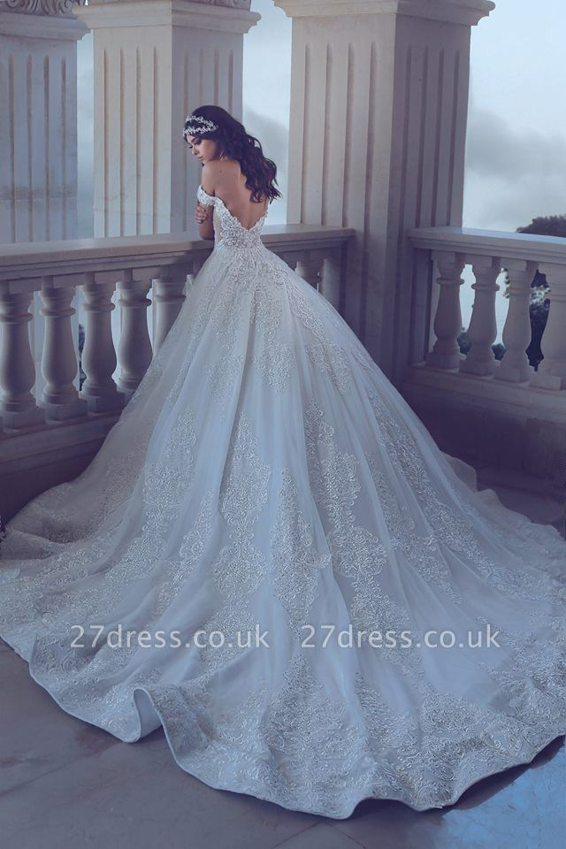 Chic Lace Off-the-Shoulder Wedding Dress Backless Long Beadss Bridal Gowns With Train