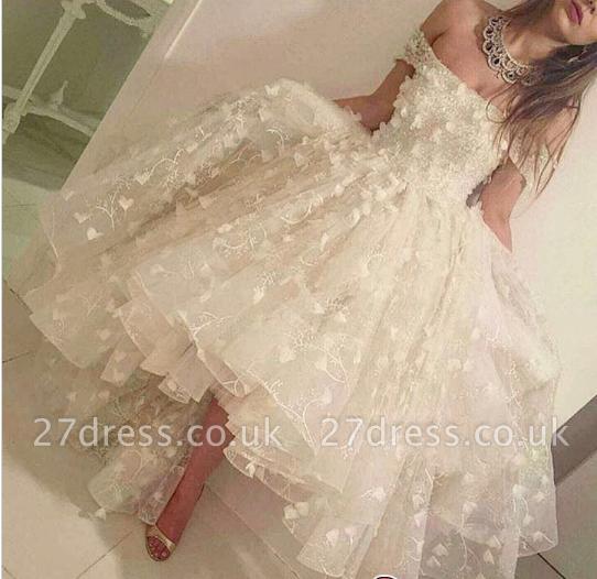 Off-the-shoulder Hi-Lo 3D-Floral-Appliques Romantic Prom Dress UKes UK LY135