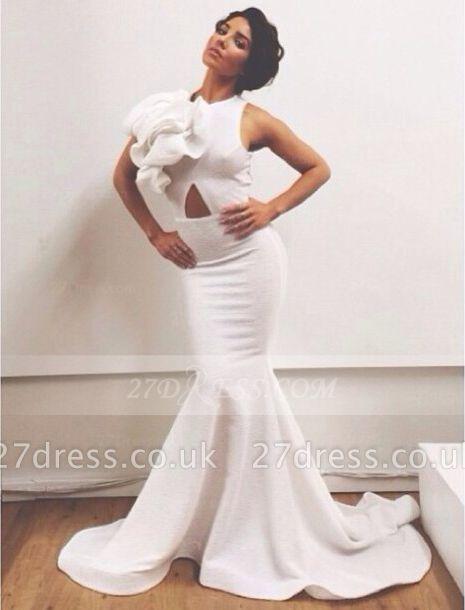Train Elegant Prom Dress UKes UK with White Jewel Sleeveless Flower Mermaid Satin Sweep Evening Gowns