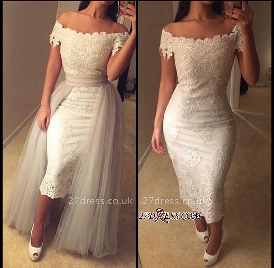 Modest Detachable-Train Lace Off-the-shoulder Tea-length Prom Dress UK BA6894