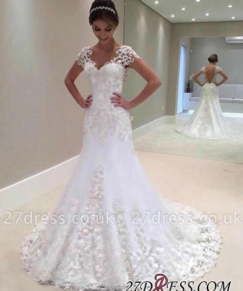 Long Sexy Mermaid Lace Gorgeous Cap-Sleeve Wedding Dress cc0023