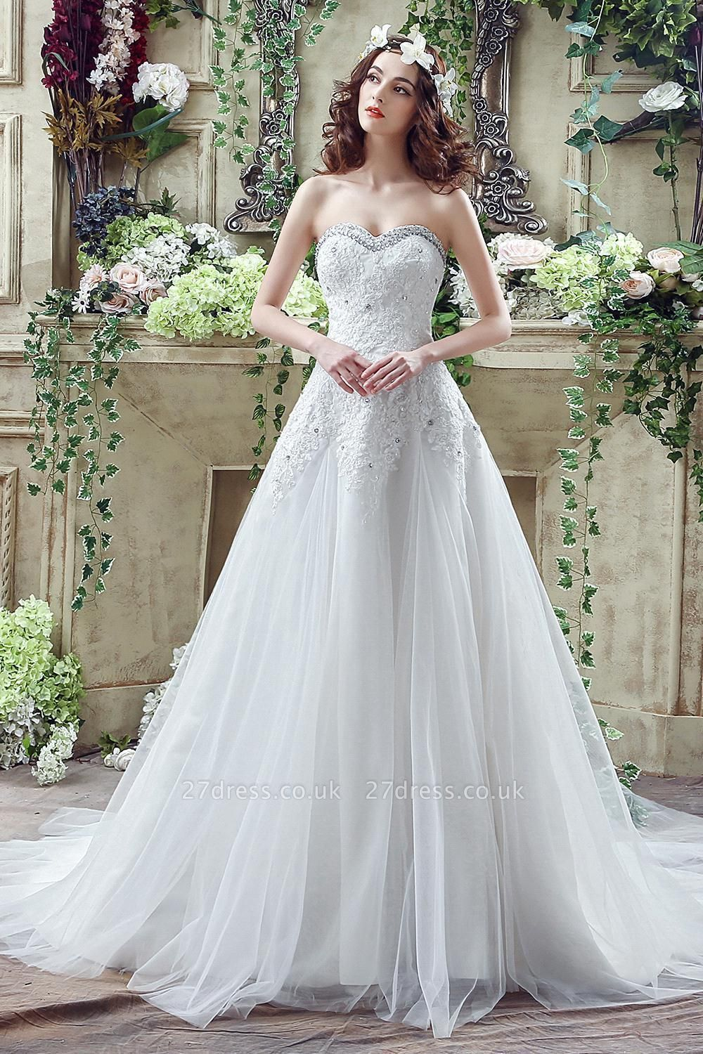Elegant Sequined Lace Tulle Wedding Dress Court Train Lace-up