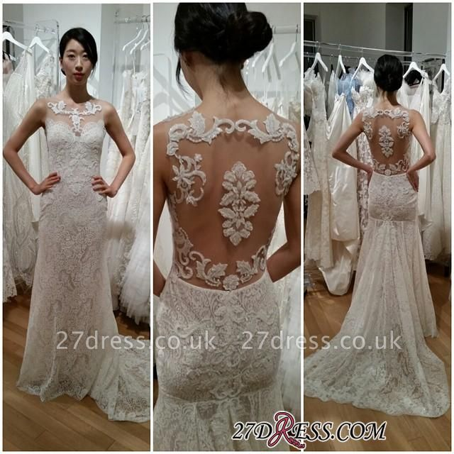 Gorgeous Sleeveless Designer Sweep-Train Lace Sexy Mermaid Wedding Dress