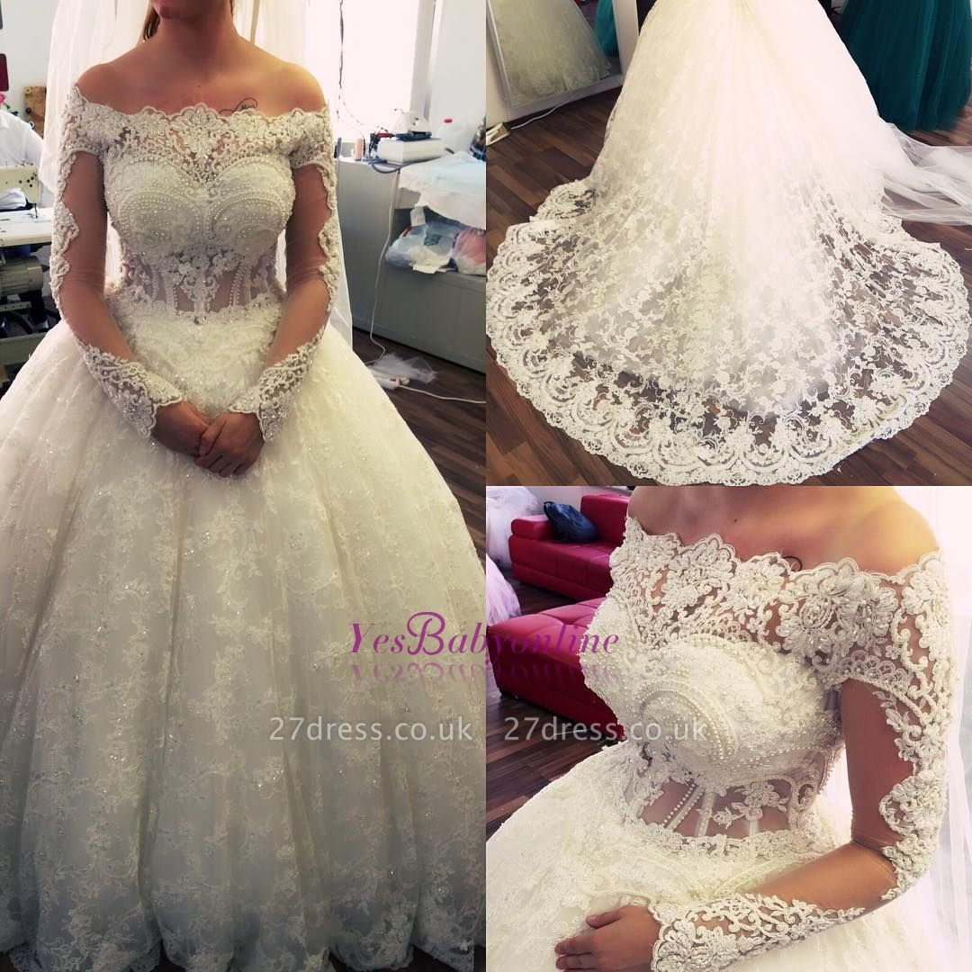 Ball-Gown Off-the-Shoulder Amazing Lace Pearls Long-Sleeves Wedding Dresses UK