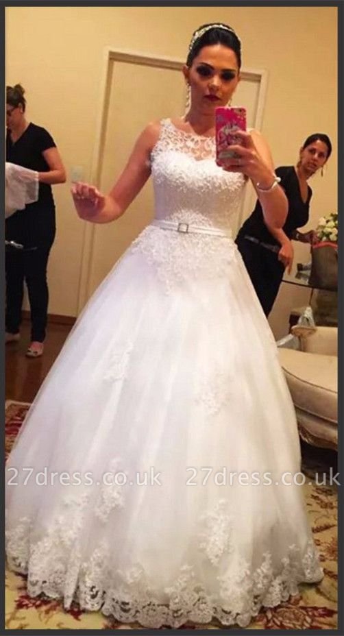 Pretty Sleeveless Tulle Princess Wedding Dress Lace With Pearls