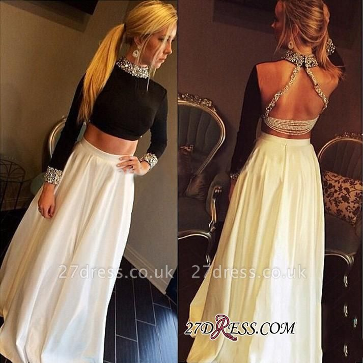 High-Neck Crystal Elegant A-Line Long-Sleeves Two-Pieces Prom Dress UK qq0255