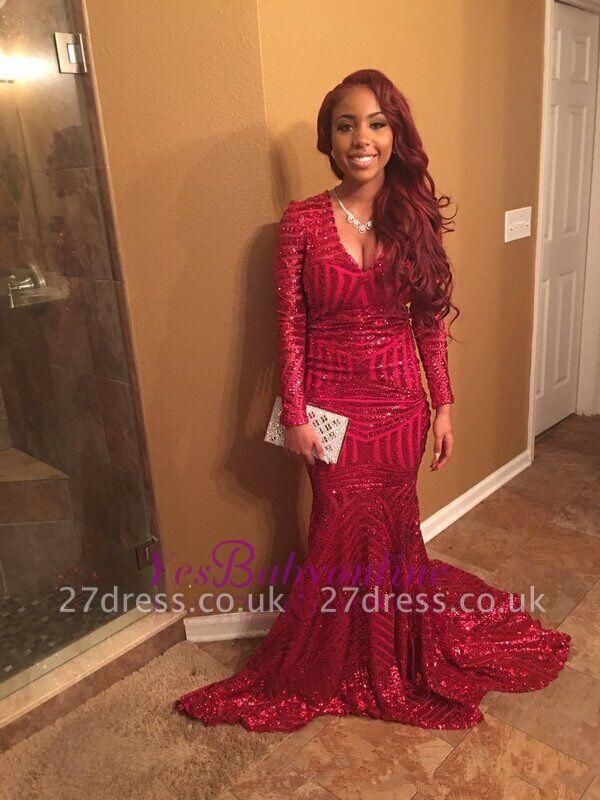Elegant Red V-Neck Sequins Prom Dress UKes UK Long Sleeve Mermaid BK0