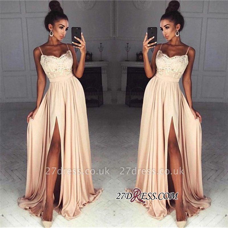 Long Split Lace Chiffon Luxury Spaghetti-Straps Prom Dress UK
