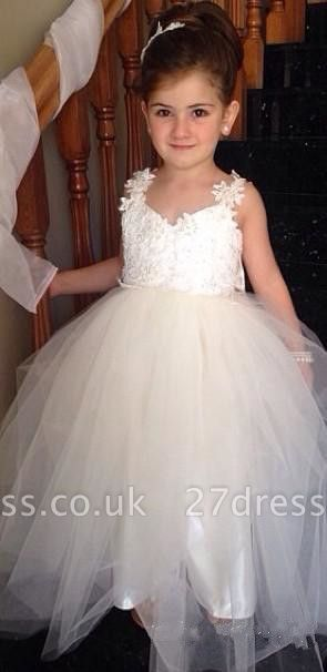 Delicate Tulle Lace Appliques Flower Girl Dress With Bowknot