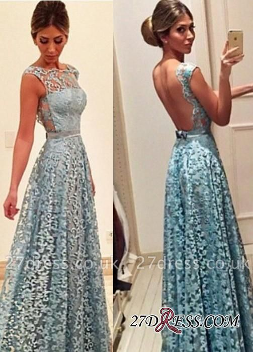 Newest A-line Bow Lace Floor-length Backless Evening Dress UK