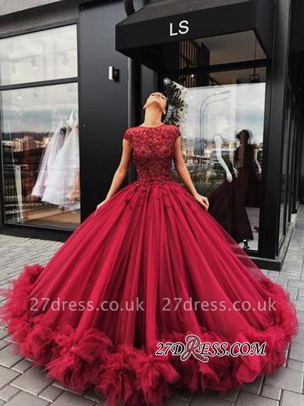 Short Sleeves Burgundy Prom Dress UKes UK   Ball Gowns Evening Dress UK With Lace